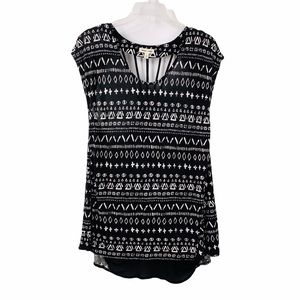 Silence + Noise Printed Strappy Back Tunic Top